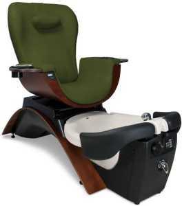 Continuum Maestro Pedicure Spa - a beautiful, sleek, modern spa chair, made of green fabric and dark brown wood