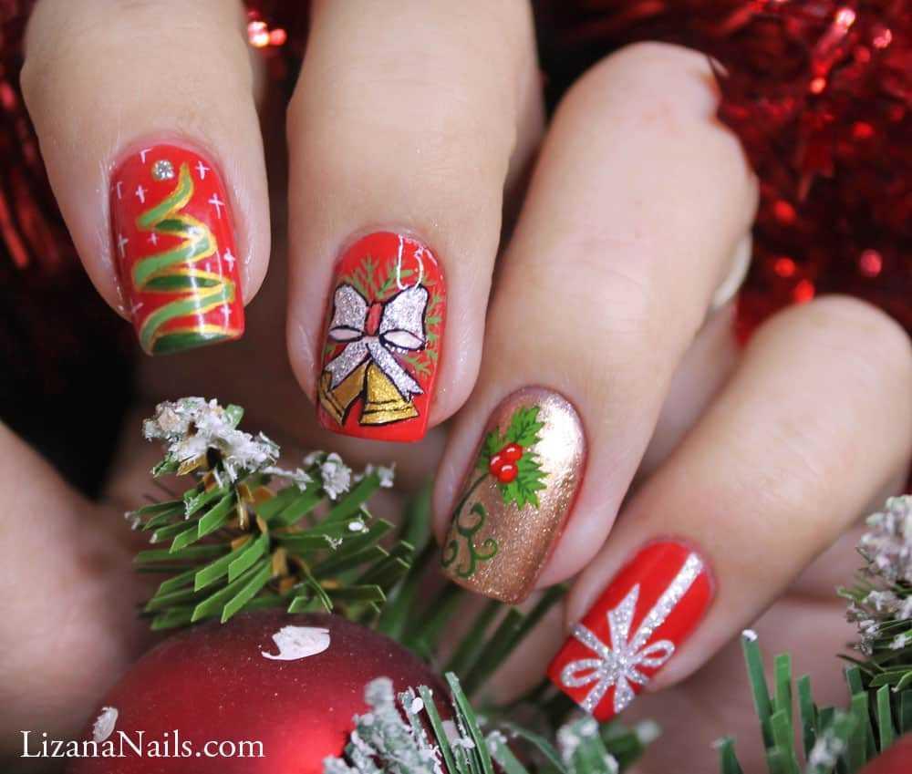 Новогодний маникюр ГЕЛЬ ЛАК  New Year Nails