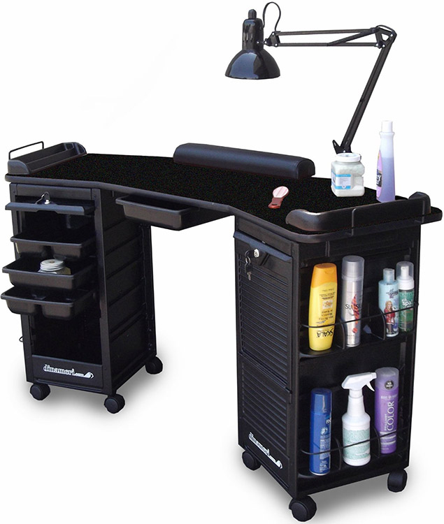 Dina Meri M602 Manicure Nail Table Double Cabinet