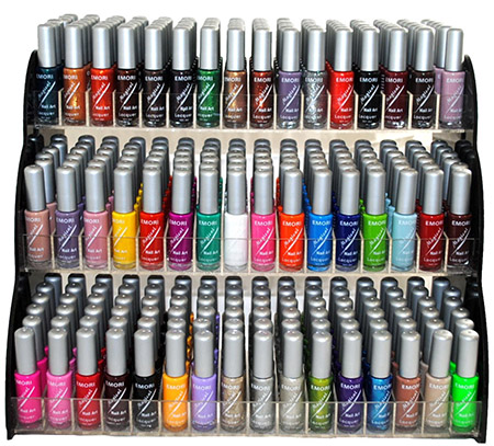 Emori All About Nail 50 Piece Color Nail Lacquer (Nail Art Brush Style) Combo Set + 3 Sets of Scented Nail Polish Remover - Magical